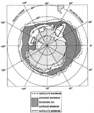 Antarctic Ocean showing the average and absolute maximum and minimum seasonal ice cover (modified from Maykut, 1985)
