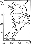 Schematic picture of the Kuroshio Current and its branches in the China Seas