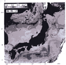 A satellite thermal image of SST around Japan, obtained by the NOAA/AVHRR on 12 June 1986