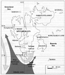 Schematic map of sea currents influencing South and West Spitsbergen