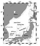 The bottom topography and geographical locations for the Japan/East Sea